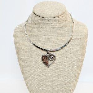 Brighton 2 Tone Heart Choker Style Heart Necklace
